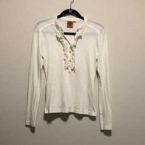 Tory Burch Ruffle Button Top